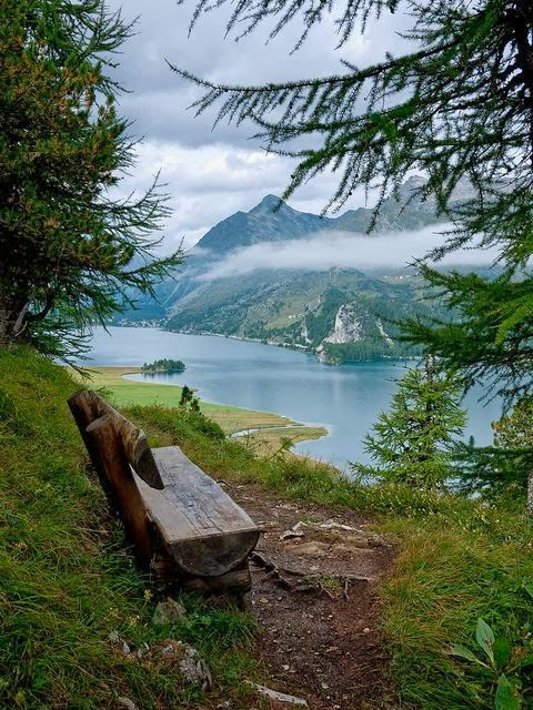 Resting Stop on The Sshores of Lake Sils, Switzerland