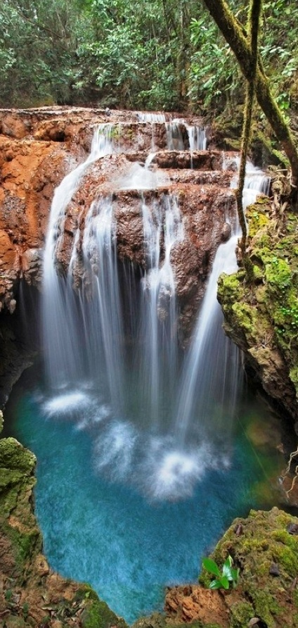 Turquoise waterfall in Brazil