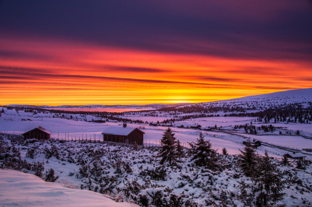Lovely Sunset with Snowy Day in Norway