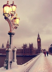 Snowy Day in London, England