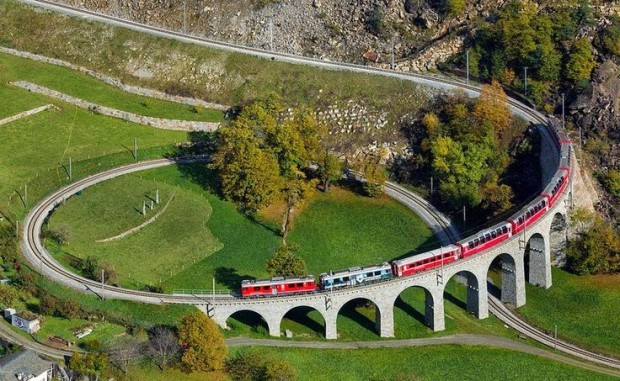 The Brusio spiral viaduct is a single track nine-arched stone spiral railway viaduct located in the Canton of Graubünden, Switzerland