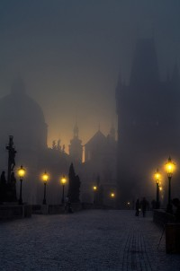 Foggy, Charles Bridge, Prague, Czech Republic