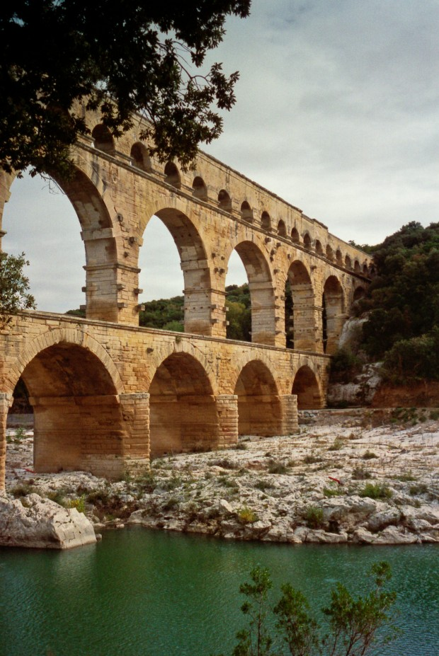 Pont du Gard, a monumental Roman aqueduct between the towns of Uzes and Nimes, France