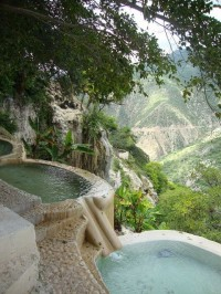 Hot water pools in Hidalgo, Mexico