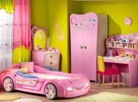 Pink with yellow color combination, Children Room Design For Girl
