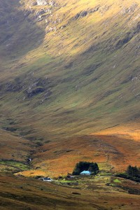 Cottage at the foothill of the colorful Connemara mountains, Ireland