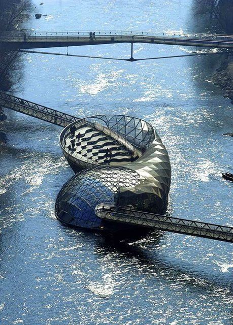Floating Coffee Shop in Graz, Austria