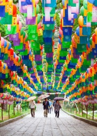 Tunnel of lanterns at Beomeosa Temple in Busan, South Korea