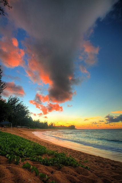 Beach Sunset, Kauai, Hawaii
