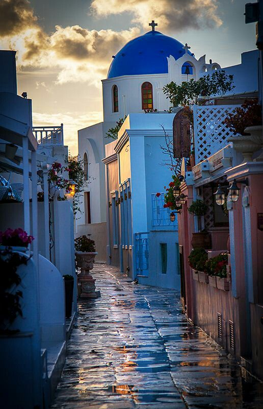 A Beautiful Path in Santorini, Greece