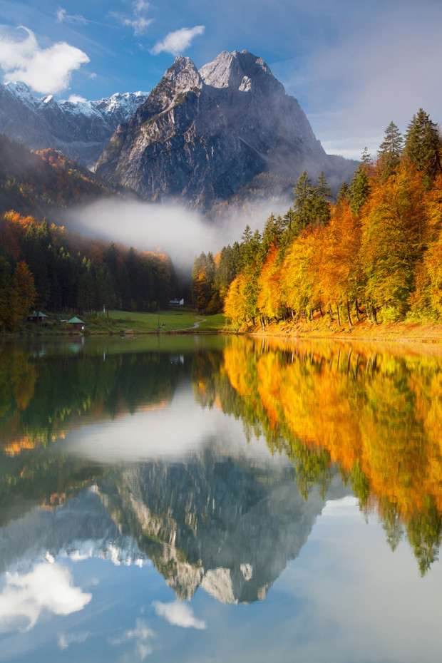 Autumn Colors at Lake Riessersee in Garmisch-Partenkirchen, Bavaria, Germany