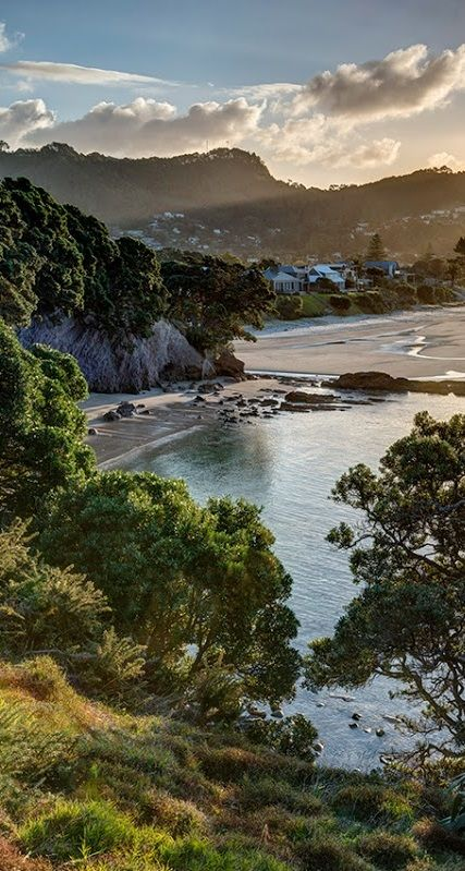 Late afternoon Winter sun drapes the landscape at Hahei Beach in New Zealand